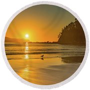 Orange Sunrise Seascape And Beach Round Beach Towel