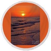 Orange Sunset Round Beach Towel