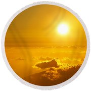 Orange Sunset - Haleakala Round Beach Towel