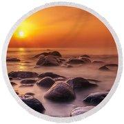 Orange Sunset Long Exposure Over Sea And Rocks Round Beach Towel