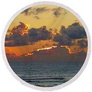 Orange Sunset Oregon Round Beach Towel