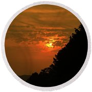 Orange Sunset With Tree Silhouette Round Beach Towel