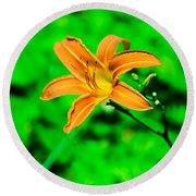 Orange Tiger Lily Round Beach Towel
