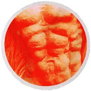 Orange Torso Round Beach Towel