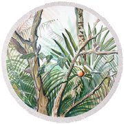 Orange Tree Round Beach Towel