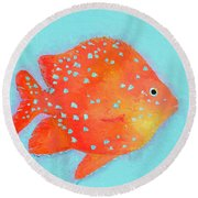 Orange Tropical Fish Round Beach Towel