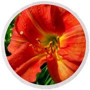 Orange Trumpeting Lily Round Beach Towel