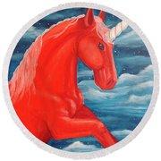 Orange Unicorn Round Beach Towel