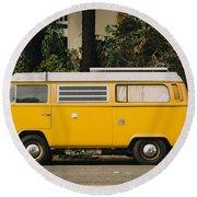 Orange Vw Bus Round Beach Towel
