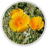 Orange Wildflowers Round Beach Towel