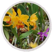Orangepurple Orchids Round Beach Towel