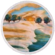 Oranges In The Snow-landscape Painting By V.kelly Round Beach Towel