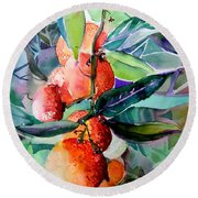 Oranges Round Beach Towel by Mindy Newman