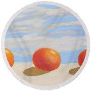 Oranges On A Ledge Round Beach Towel