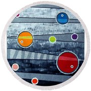 Orbs On Planes #3 Round Beach Towel