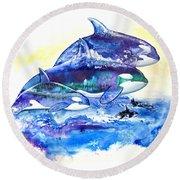 Orca Fantasy Round Beach Towel