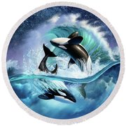 Orca Wave Round Beach Towel