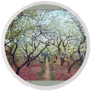 Orchard In Bloom Round Beach Towel