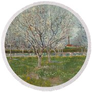 Orchard In Blossom Plum Trees Round Beach Towel