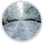 Orchard In White Round Beach Towel