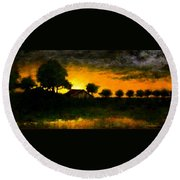 Orchard Sundown Round Beach Towel