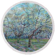 Orchard With Blossoming Plum Trees   Round Beach Towel