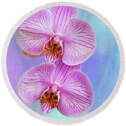 Orchid Delight - Two Blooms Against A Rainbow Background Round Beach Towel
