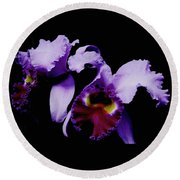 Orchid Elegance Round Beach Towel
