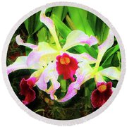 Orchid Flowers Color 1 Round Beach Towel