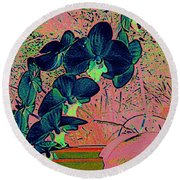 Orchid Japanaise Round Beach Towel