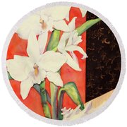 Orchid Medley Round Beach Towel