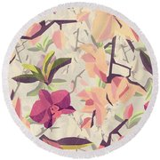 Orchid Pattern Round Beach Towel