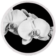 Orchid - Bw Round Beach Towel