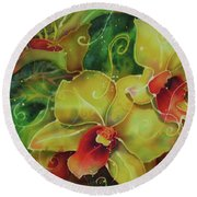 Orchid Series 11 Round Beach Towel