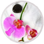 Orchid Spa Composition Round Beach Towel