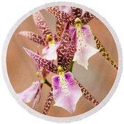 Orchid Stars Round Beach Towel