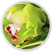 Orchid With Yellow And Green 2 Round Beach Towel