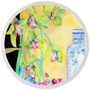 Orchids And Blue Vase Round Beach Towel
