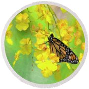 Orchids And Butterfly Painting Round Beach Towel