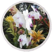 Orchids And Iron Round Beach Towel