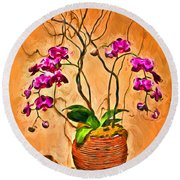 Orchids In Basket Round Beach Towel