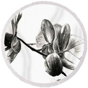 Orchids In Black Round Beach Towel