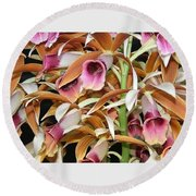 Orchids In Bloom Round Beach Towel by Mindy Newman