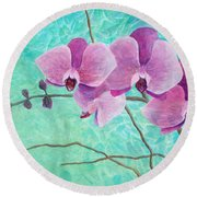 Orchids In Pink Round Beach Towel