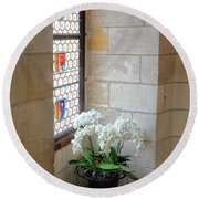 Orchids In The Chateau Round Beach Towel