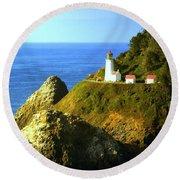 Oregan Lighthouse Round Beach Towel