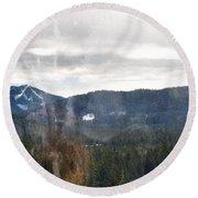 Oregon Cascade Range Landscape Round Beach Towel