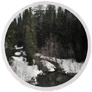 Oregon Cascade Range River Round Beach Towel