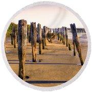 Oregon Coast Pilings Round Beach Towel