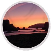 Oregon Coast Silhouette Round Beach Towel